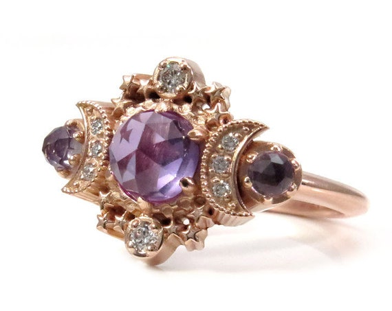 Rose Cut Lab Alexandrite Moon Engagement Ring - Rose Gold Boho Fine Handmade Jewelry