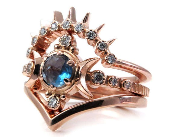 London Blue Topaz Moon Goddess Engagement Ring Set with Sunray and Chevron Wedding Bands