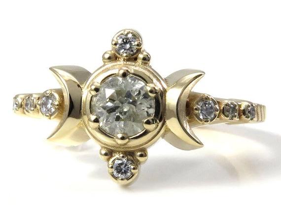 Galaxy Diamond Compass Moon Ring - Moon Engagement - Celestial Bohemian