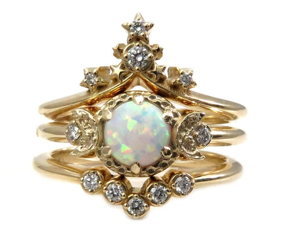 Starseed Moon Temple Engagement Ring Set - Lab Opal with Natural White Diamonds