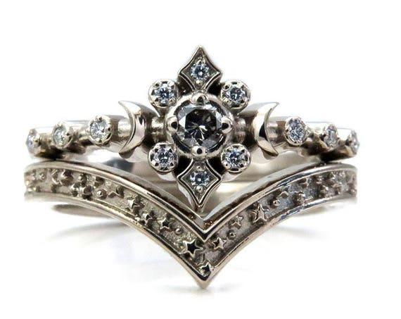 Gray and White Diamond Moon Ring with Stardust Chevron - SwankMetalsmithing Engagement Ring Set