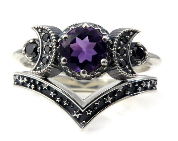 Hecate Triple Moon Ring Set - Pick Your Center Stone - Sterling Silver and Black Diamond Engagement