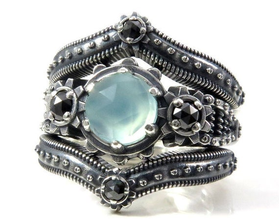 Ladies Steampunk Engagement Ring Set - Aqua Chalcedony and Black Diamond - Sterling Silver
