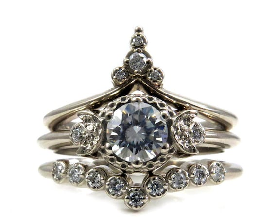 Temple of the Stargazer - Moon and Star Engagement Ring Set - Diamonds or Forever One Moissanite