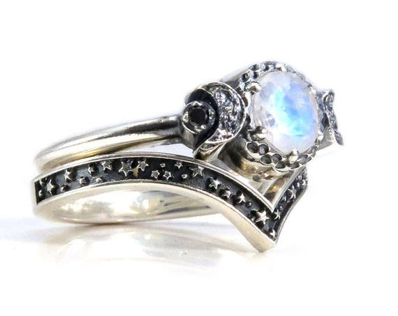 Moonstone Moon and Stars Sterling Silver Engagement Moon Ring Set with Black or White Diamonds