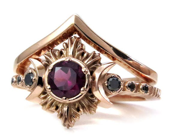 Rhodolite Garnet Moon Fire Engagement Ring Set - Triple Moon Goddess - 14k Rose Gold