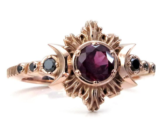 Rhodolite Garnet Moon Fire Gothic Engagement Ring with Black Diamonds