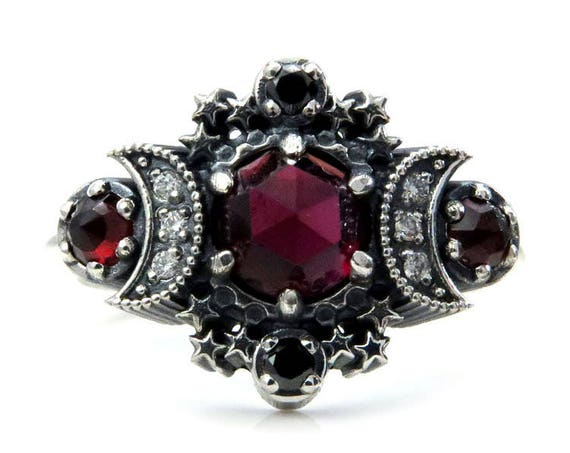 Rose Cut Garnet Cosmos Moon and Star Ring - Sterling Silver with Black & White Diamonds