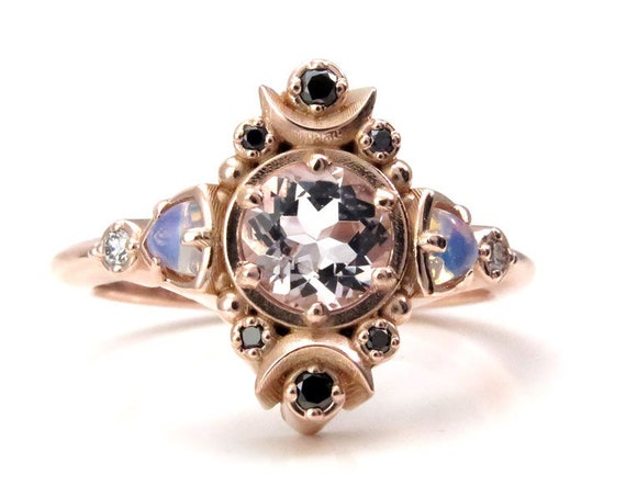 Moon Empress Engagement Ring - Morganite with Opalite Trillions and Black and White Diamonds