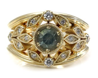 Ready to Ship Size 5 - 7 - Art Deco Mint Sapphire and Diamond Branch and Diamond Leaf Engagement Ring Set - 14k Yellow Gold