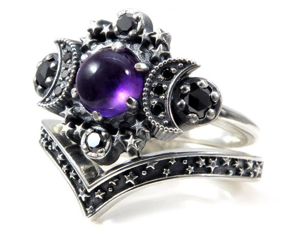 Ready to Ship Size 6 - 8 - Amethyst Cosmos Moon Engagement Ring with Silver Stardust Chevron Wedding Band