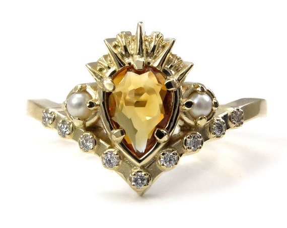 Ursula the Sea Witch Citrine Engagement Ring with Seed Pearls and Diamonds