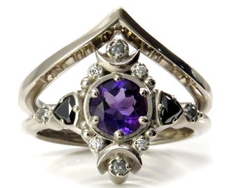Ready to Ship Size 6 - 8 - Amethyst Moon Empress Engagement Ring Set with Black Diamond Trillions- 14k Palladium White Gold