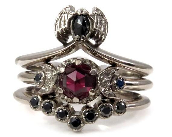 Bat & Blood Moon Engagement Ring Set - Gothic Wedding Rings - 14k Palladium White Gold