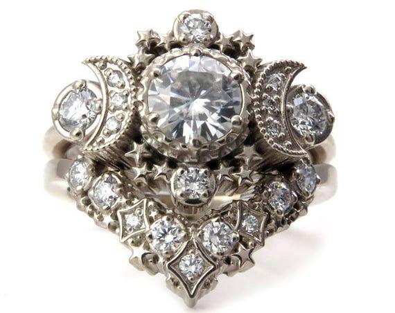 Diamond Cosmos Moon Engagement Ring Set - Moissanite or Diamonds Custom Wedding Rings