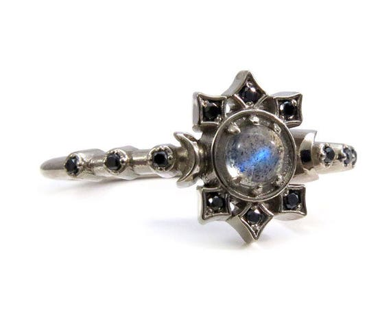 Orion Moon Ring - Labradorite and Black Diamond Lunar Engagement Ring
