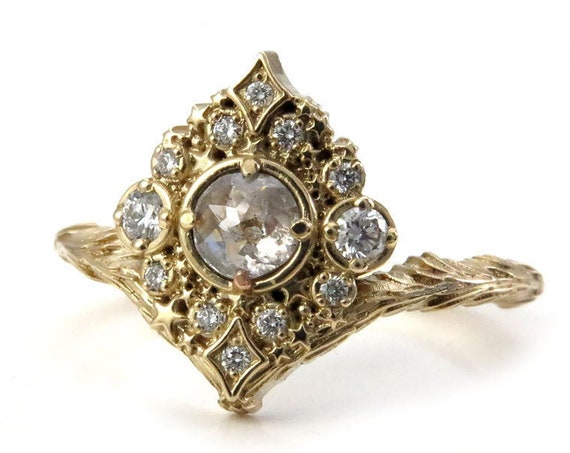 Rose Cut Diamond Nova Engagement Ring - 14k Gold - Pick your Diamond - Celestial Stardust Wedding Ring