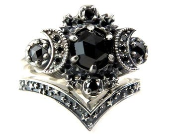 Gothic Cosmos Moon Engagement Ring Set Silver Moon and Stardust Chevron Wedding Band