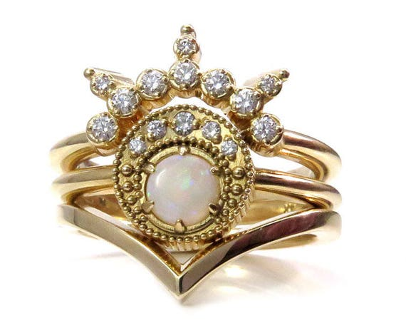 Ready to Ship Size 6-8 - Opal Moon Priestess Engagement Ring Set - 14k Yellow Gold Boho Stacking Rings