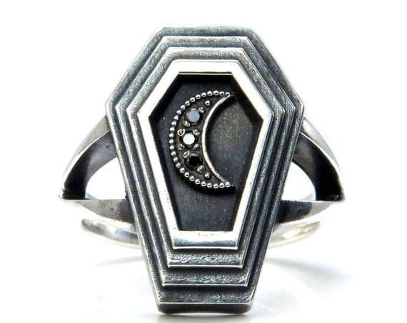 Ready to Ship Size 6-8 - Dark Moon Coffin - Sterling Silver Mourning Ring with Black Diamond Crescent