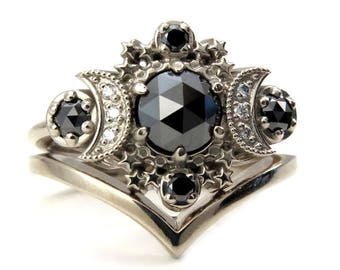 Black Diamond Moon Engagement Ring with Gold Chevron Wedding Band - Cosmos Moon Set by Swankmetalsmithing