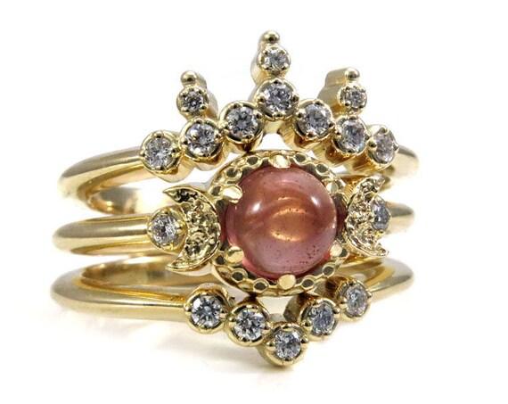 Oregon Sunstone Gold Moon Goddess Engagement Ring Set with Diamond Wedding Bands