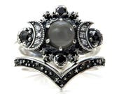 Grey Moonstone Silver Moon Engagement Ring Set - Bohemian Stacking Wedding Rings