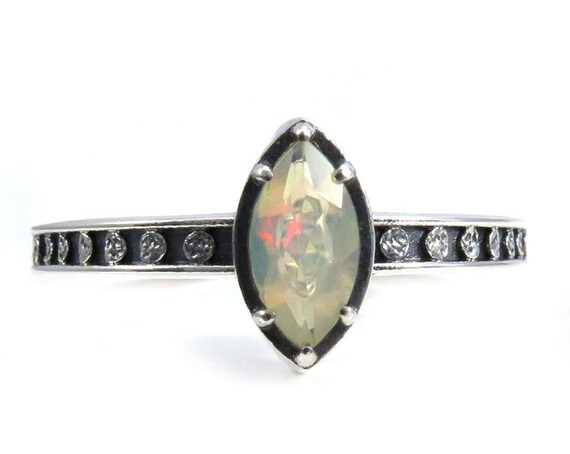 Marquise Opal Moon Phase Engagement Ring - Sterling Silver Occult Jewelry