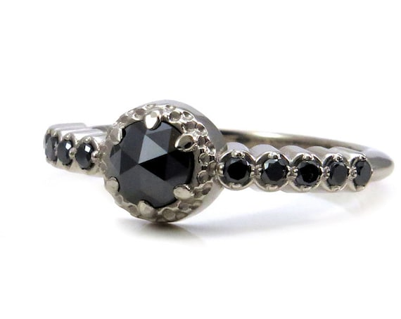 Modern Victorian Black Diamond Enagement Ring - 14k Palladium White Gold Alternative Wedding Ring