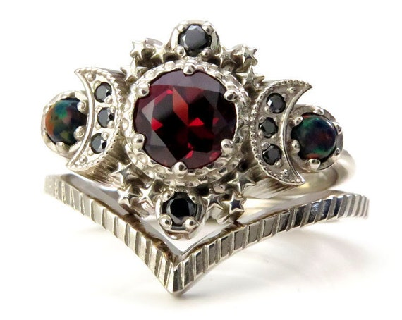 Red Garnet Cosmos Engagement Ring Set with Lab Black Opals & Black Diamonds - 14k Palladium White Gold