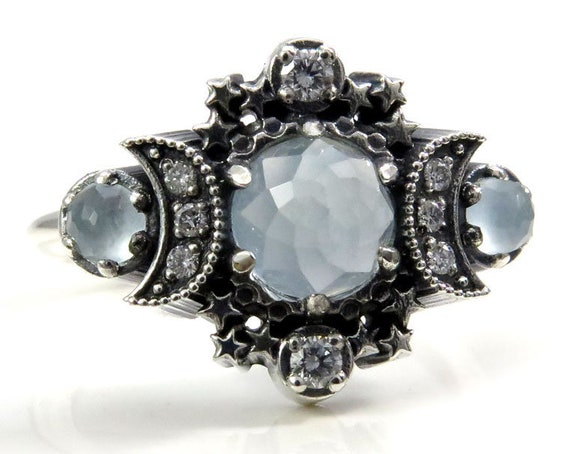 Rose Cut Milky Aquamarine Cosmos Triple Moon and Stardust Engagement Ring  Set - Sterling Silver with White Diamonds