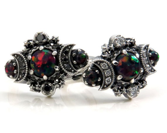 Ready to Ship Size 6 - 8 - Lab Black Opal Cosmos Moon and Star Ring - Sterling Silver with Black or White Diamonds