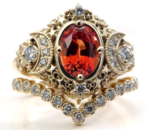 Starseed Engagement Ring Set - Oval Chatham Padparadscha Sapphire and Diamonds - Modern Gothic Lunar Wedding Rings