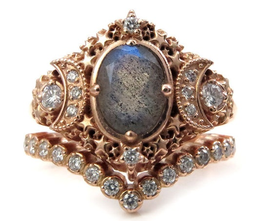 Starseed Engagement Ring Set - Oval Labradorite and Diamonds - Boho Rose Gold Wedding Rings