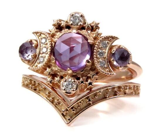 Rose Cut Lab Alexandrite Moon Engagement Ring Set - Rose Gold Boho Fine Handmade Jewelry