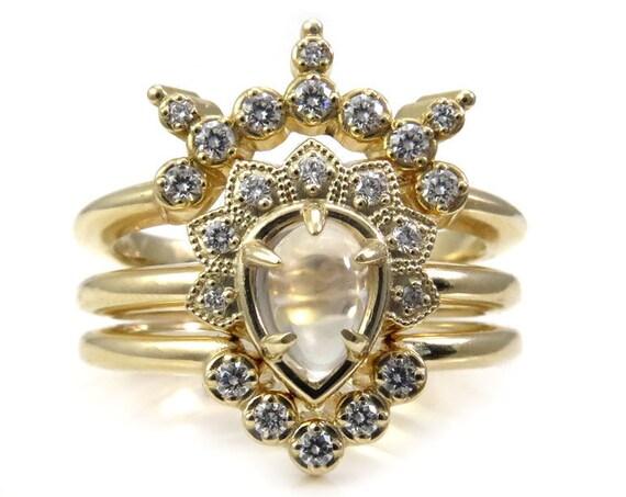 Moonstone and Diamond Asteroid Engagement Ring Set - 14k Gold - Bohemian Stacking Ring Set