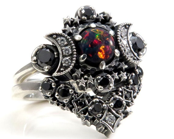 Ready to Ship Size 6 - 8 - Lab Black Opal Cosmos Moon and Star Ring - Sterling Silver with Stardust Diamond Chevron