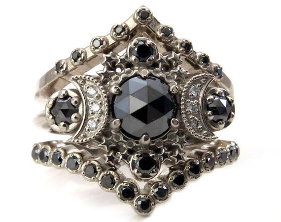 3 Piece Rose Cut Black Diamond Engagement Ring with Double Black Diamond Chevrons - Moon Wedding Set