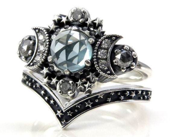Lab Spearmint Spinel Cosmos Moon and Star Ring - Sterling Silver with Salt & Pepper Diamonds and Black or White Diamond Moons