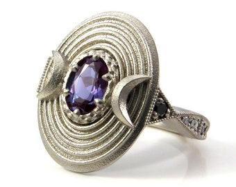 Ready to Ship Size 6 - 8 - Lunar Vortex - Chatham Alexandrite and Black and White Diamonds - Celestial Cocktail Ring