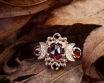 Rose Cut Garnet Cosmos Moon Engagement Ring - Rose Gold with Black and White Diamonds