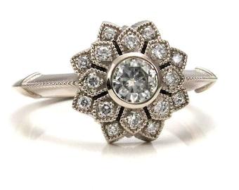 Moissanite and Diamond Art Deco Double Petal Engagement Ring - 14k Palladium White Gold