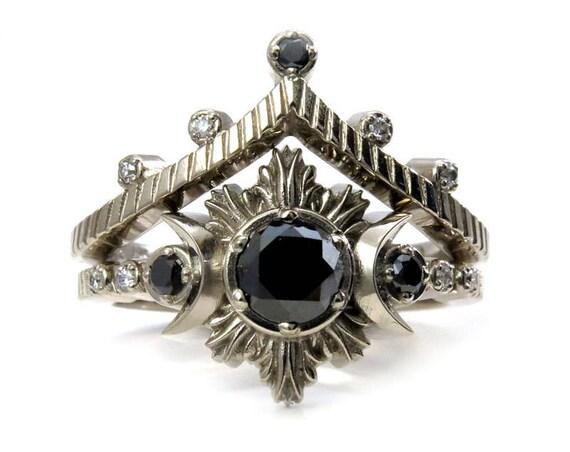 Night Sky Moon and Star Engagement Ring Set - Gothic Modern Black Diamond Moon Ring