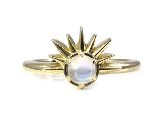 Moonstone Sunrise Ring - 14k Yellow Gold Nature Engagement Ring