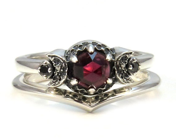 Crescent Moon Engagement Ring Set - Rose Cut Red Garnet and Black or White Diamonds - Sterling Silver Gothic Stacking Rings