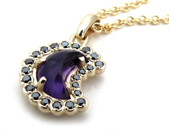 Amethyst and Black Diamond Crescent Moon Pendant - 14k Yellow Gold - Ready to Ship