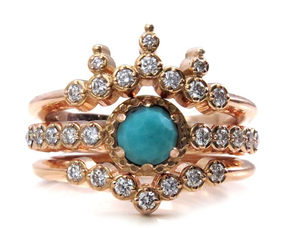 Victorian Turquoise and Diamond Engagement Ring Set - Rose Gold Wedding Rings