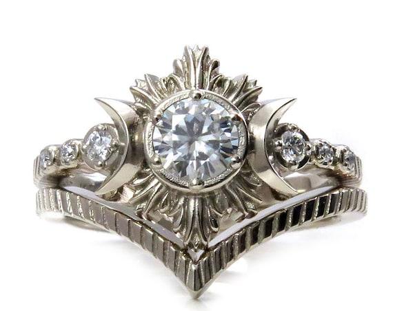 North Star Moon Engagement Ring - Moissanite Diamonds and 14k Palladium White Gold