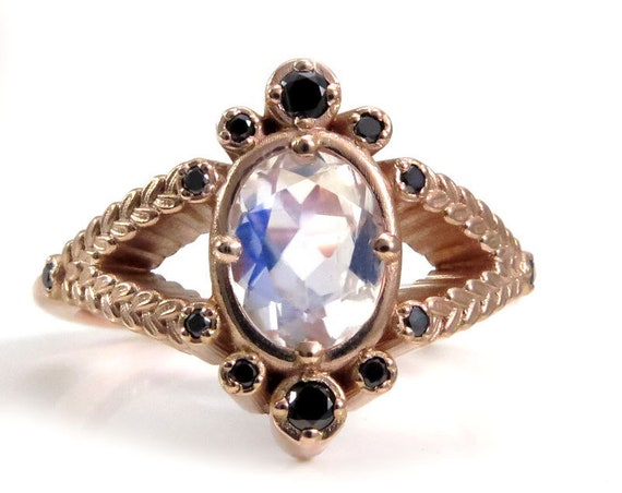 Oval Moonstone and Sage Split Shank Ring with Black Diamonds - 14k Rose Gold Botanical Engagement Ring
