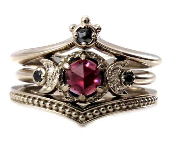 Black Diamond And Garnet Crown and Moon Engagement Ring Set - Gothic Victorian Fine Jewelry